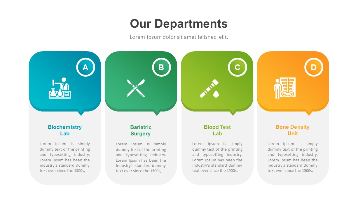 Healthcare Industry PowerPoint Template Departments
