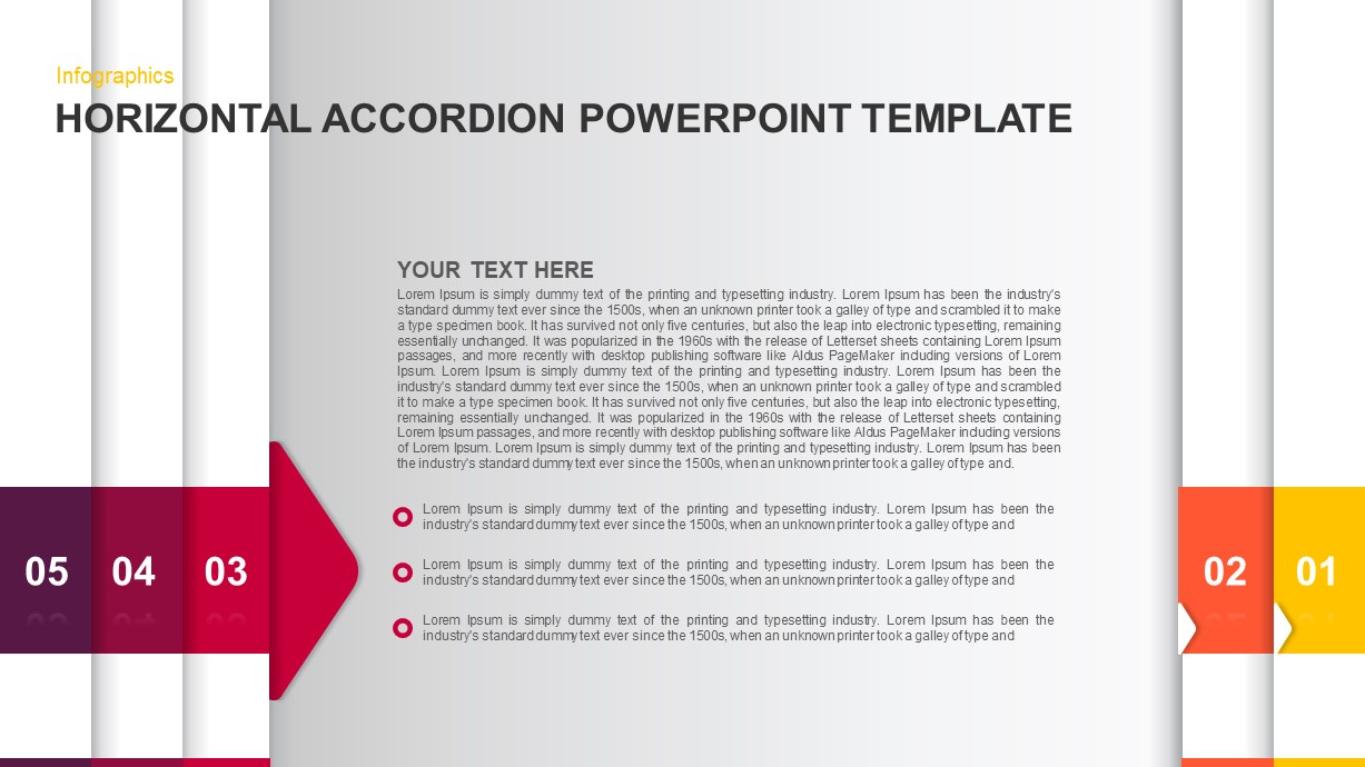 Horizontal Accordion PowerPoint Template