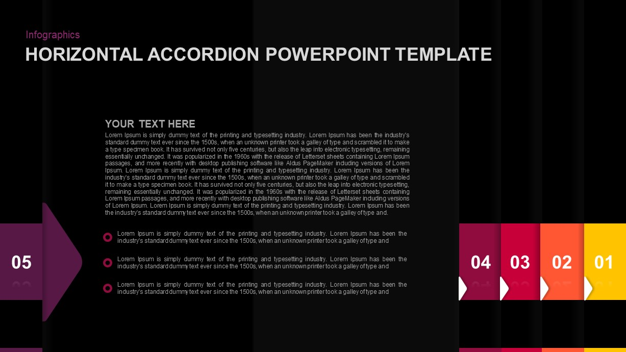 Horizontal Accordion Ppt Template