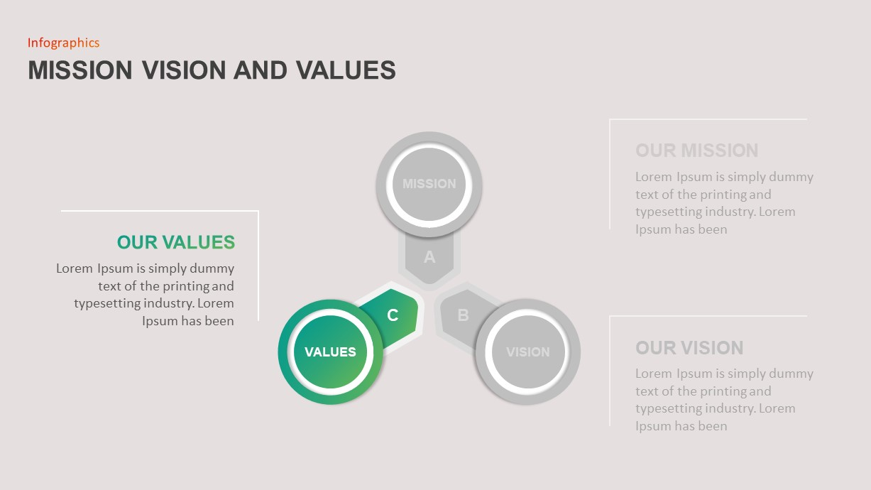 Mission Vision Values PowerPoint Diagram