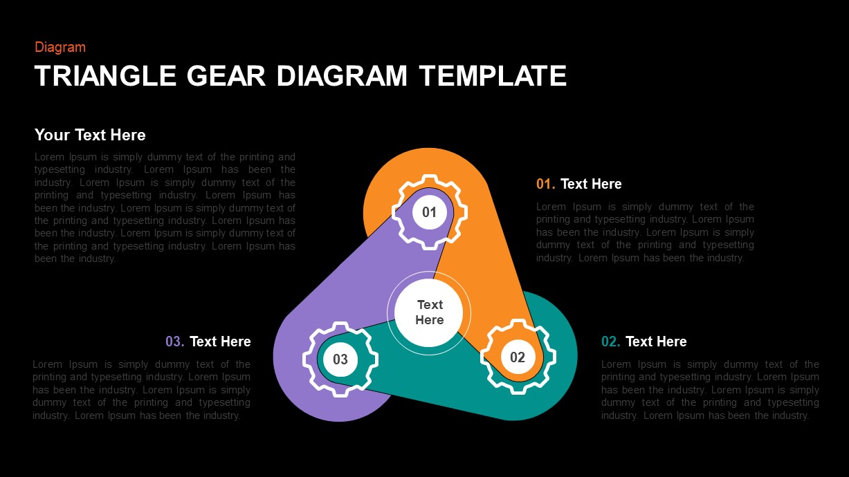 Triangle Gear Diagram PowerPoint Template