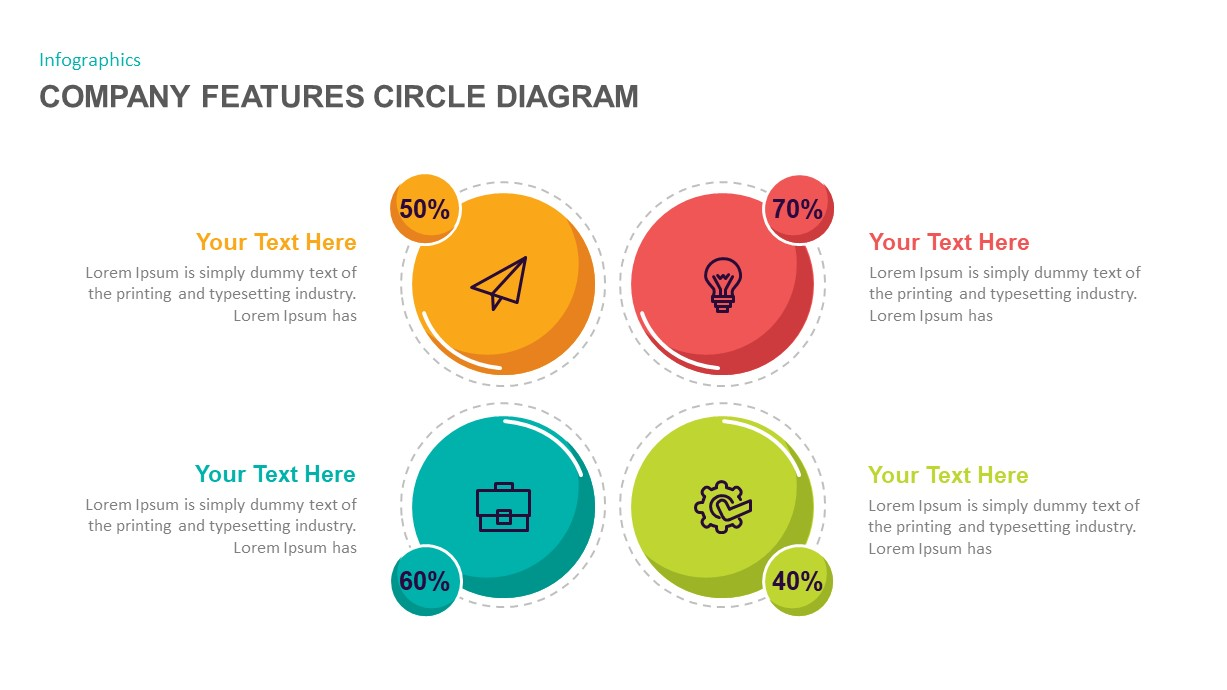 Company features circle PowerPoint template