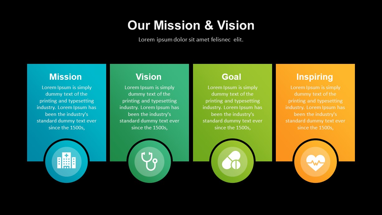health care industry ppt template mission vision