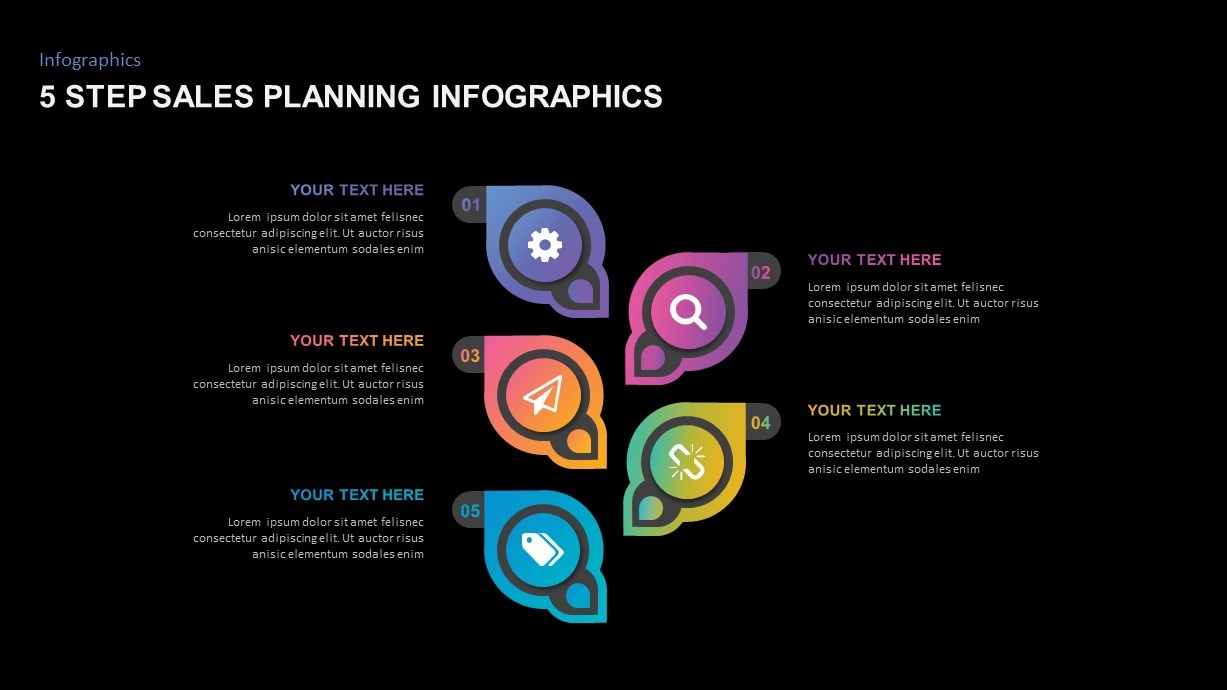 5 Step Sales Planning PowerPoint Template