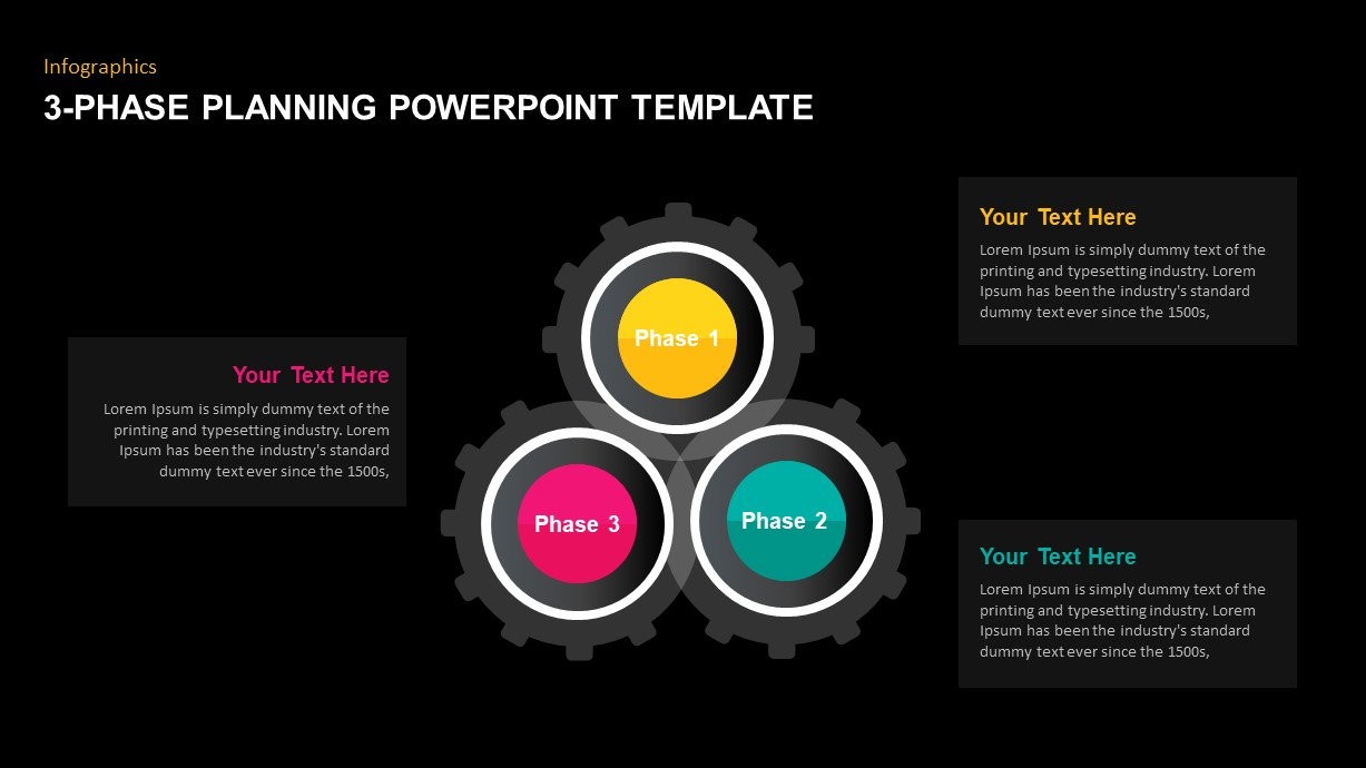 3-Phase Planning Circular Gear PowerPoint Template