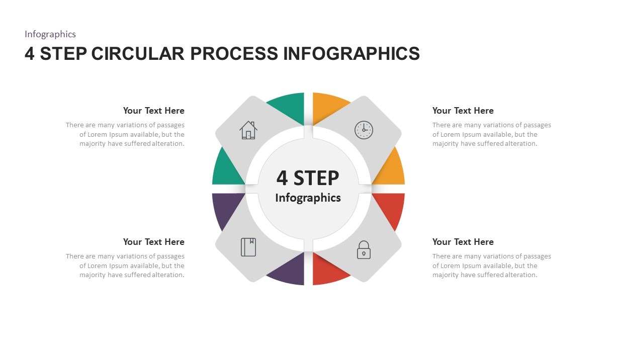 4 Step Circular Process Infographic Template for PowerPoint