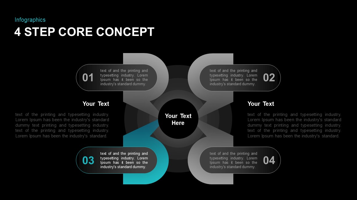 4 Step Core Concept Diagram for PowerPoint