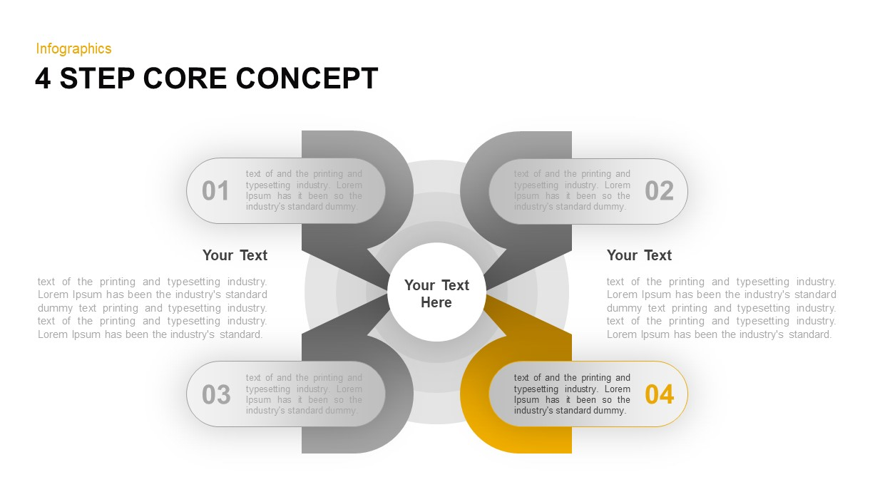 4 Step Core Concept PowerPoint Template