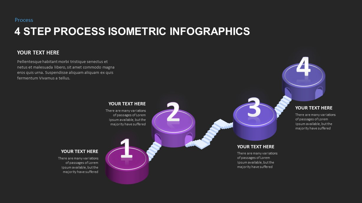 4 Step Isometric Infographic Template for PowerPoint