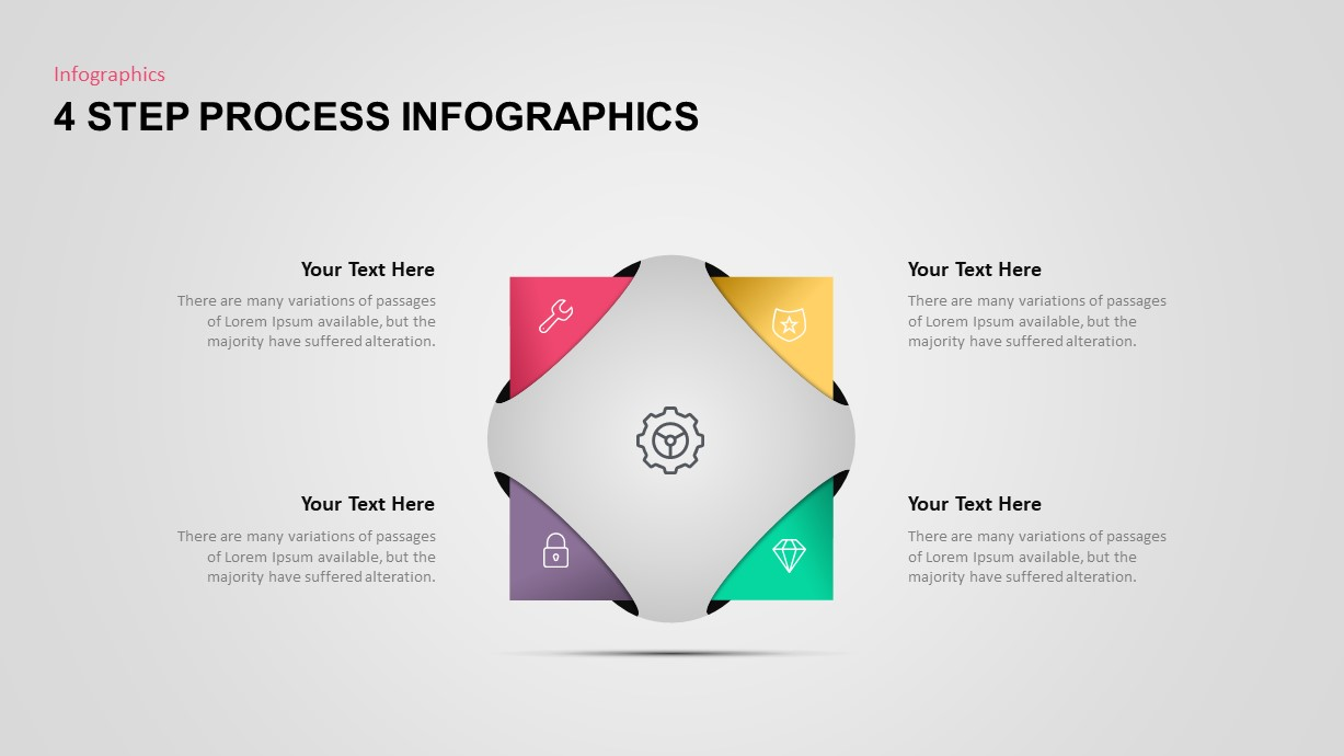 4 Step Process Infographic Template for PowerPoint