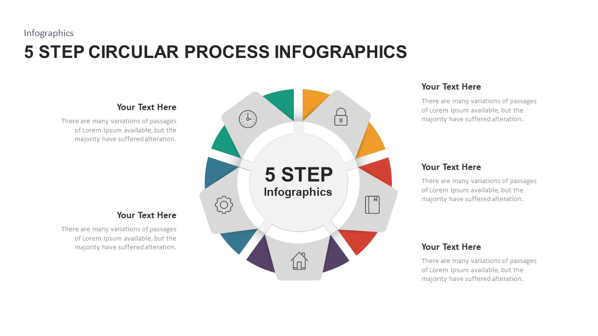 5 Step Circular Process Infographic Template for PowerPoint