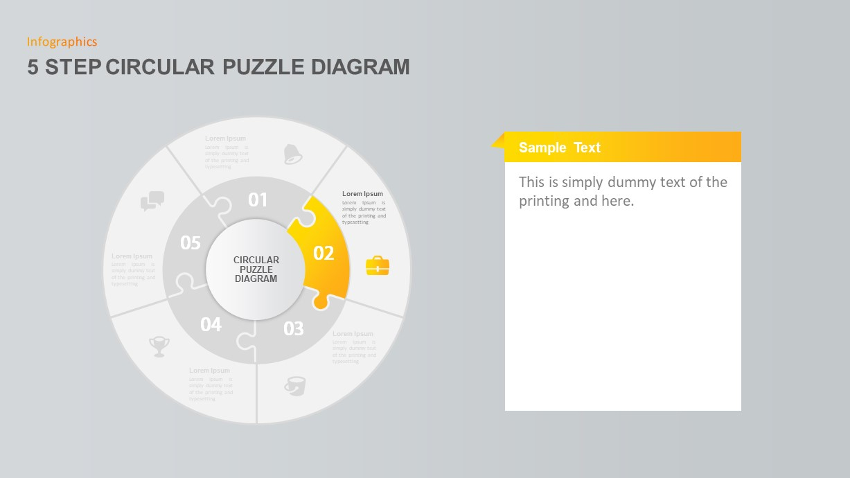 5 Step Circular Puzzle Diagram PowerPoint Template