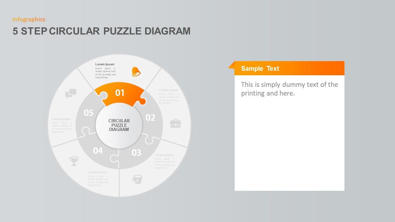 5 Step Circular Puzzle Diagram Template