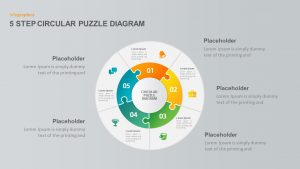 5 Step Circular Puzzle Diagram Template for PowerPoint