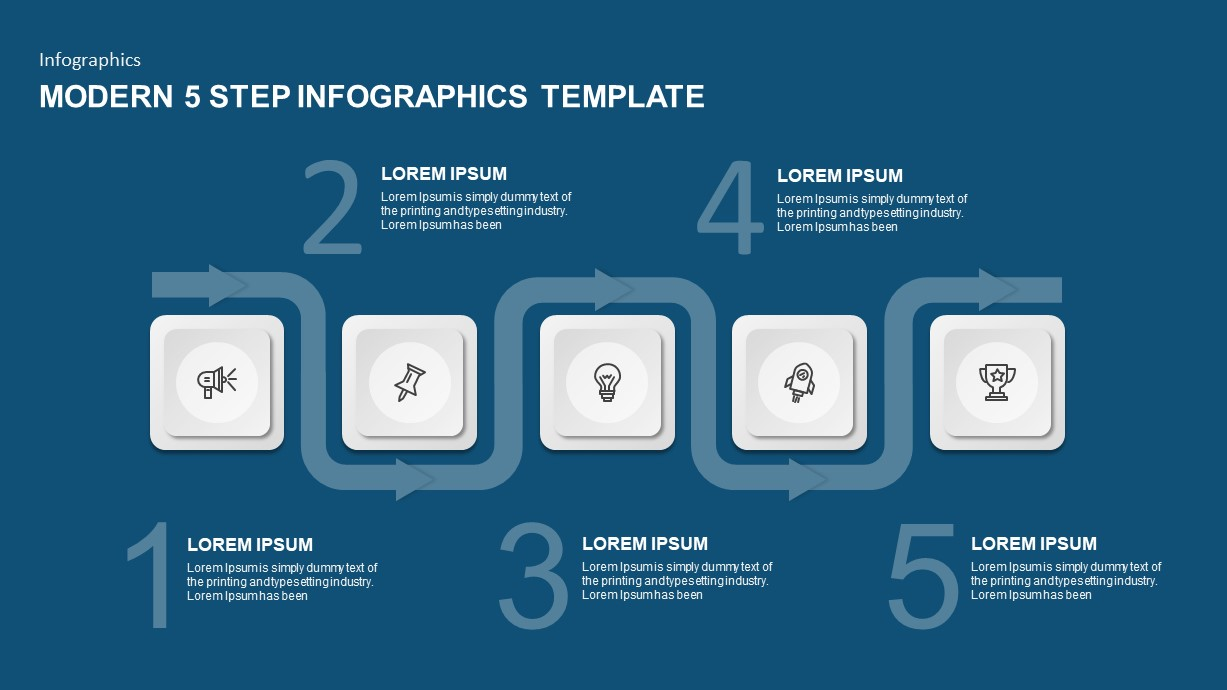 5 step powerpoint template for timeline presentation