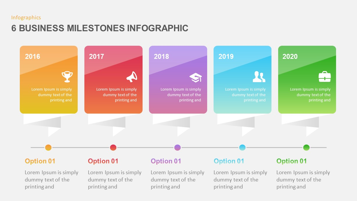 6 Business Milestones PowerPoint Timeline Template