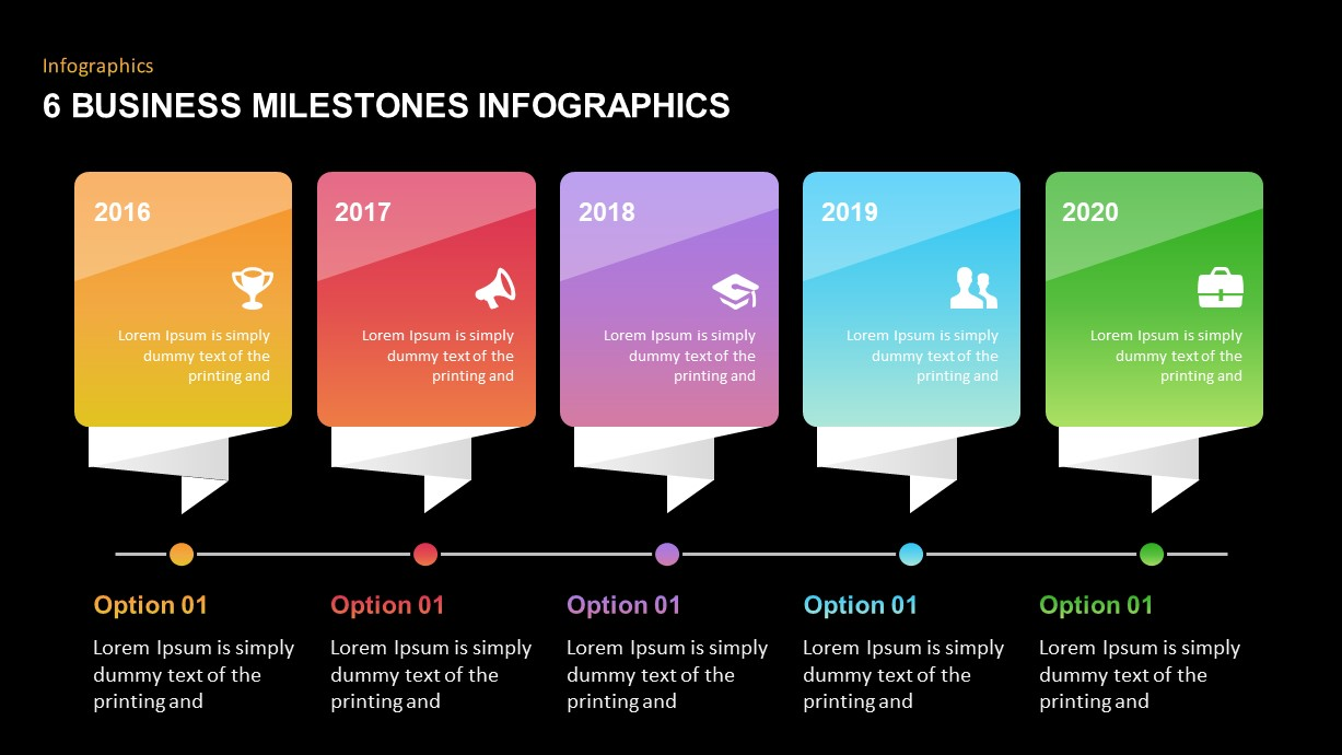 6 Business Milestones Timeline PowerPoint Template