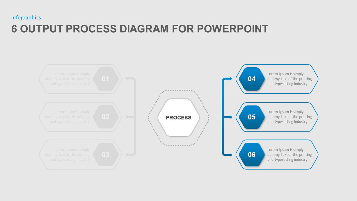 6 Output Process Diagram PowerPoint Template