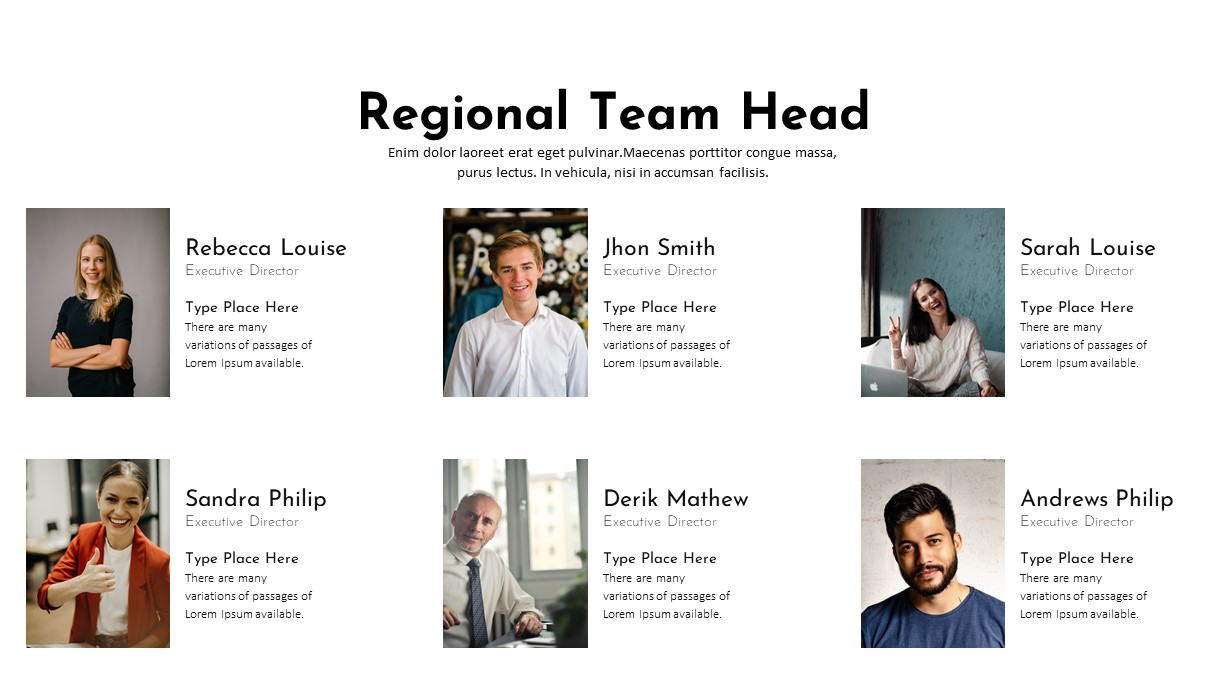 Charity PowerPoint Template Regional Team Head