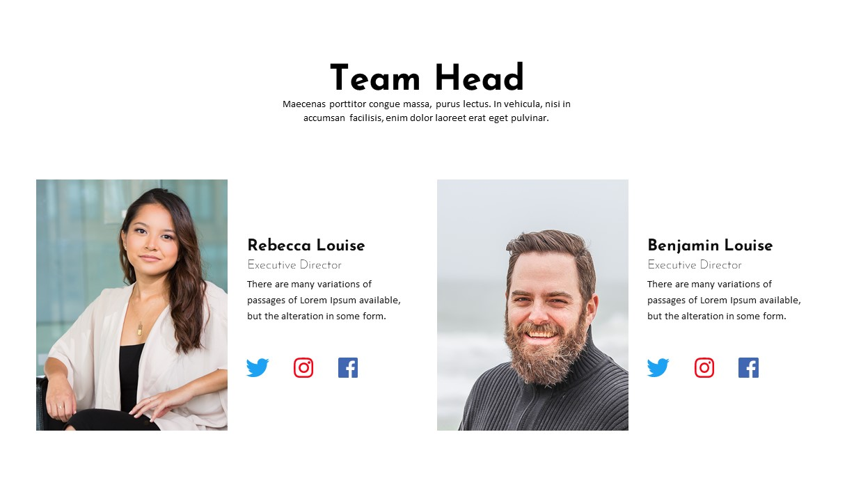 Charity PowerPoint Template Team Head