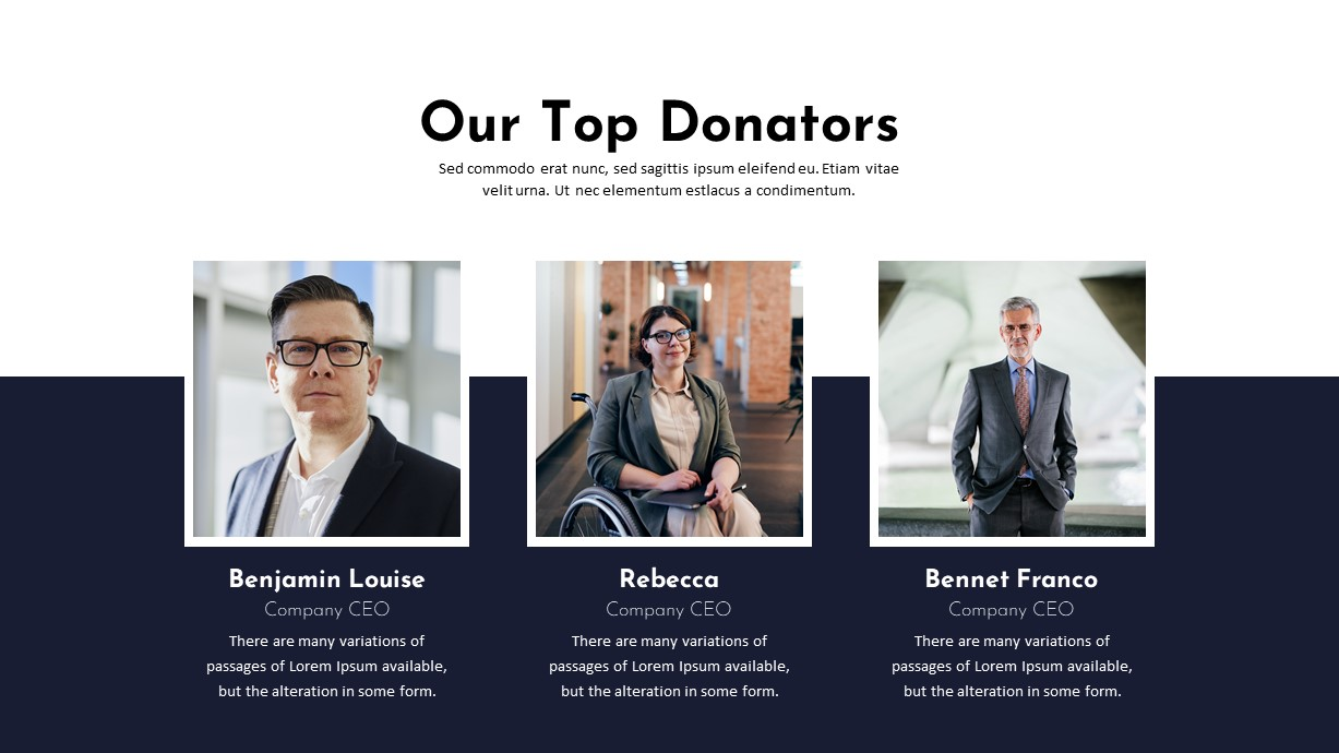 Charity PowerPoint Template Top Donators