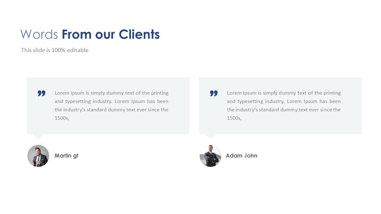 Company Profile Client Words PowerPoint Template