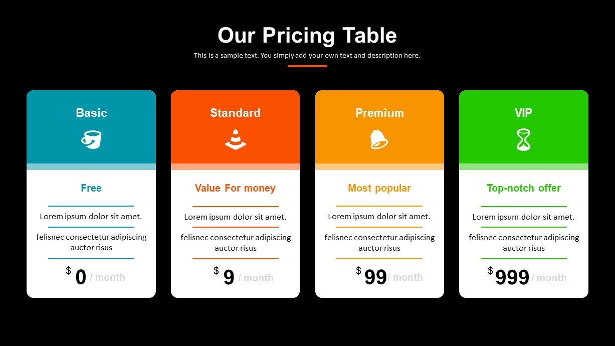 Digital Marketing Pricing Table PowerPoint Template