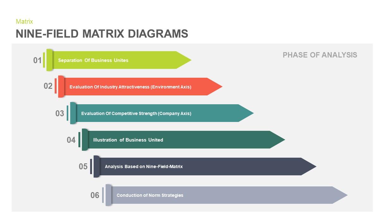 Nine Field Matrix Diagram PowerPoint