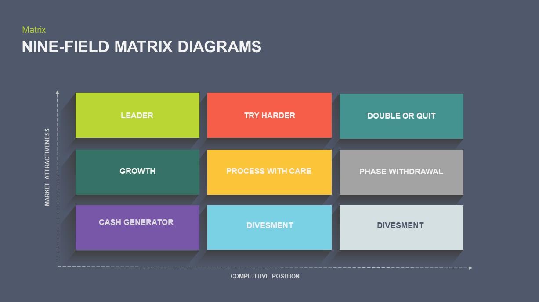 Nine Field Matrix PowerPoint Presentation Diagram