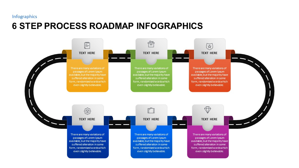 6 Step Process Roadmap Timeline PowerPoint Template