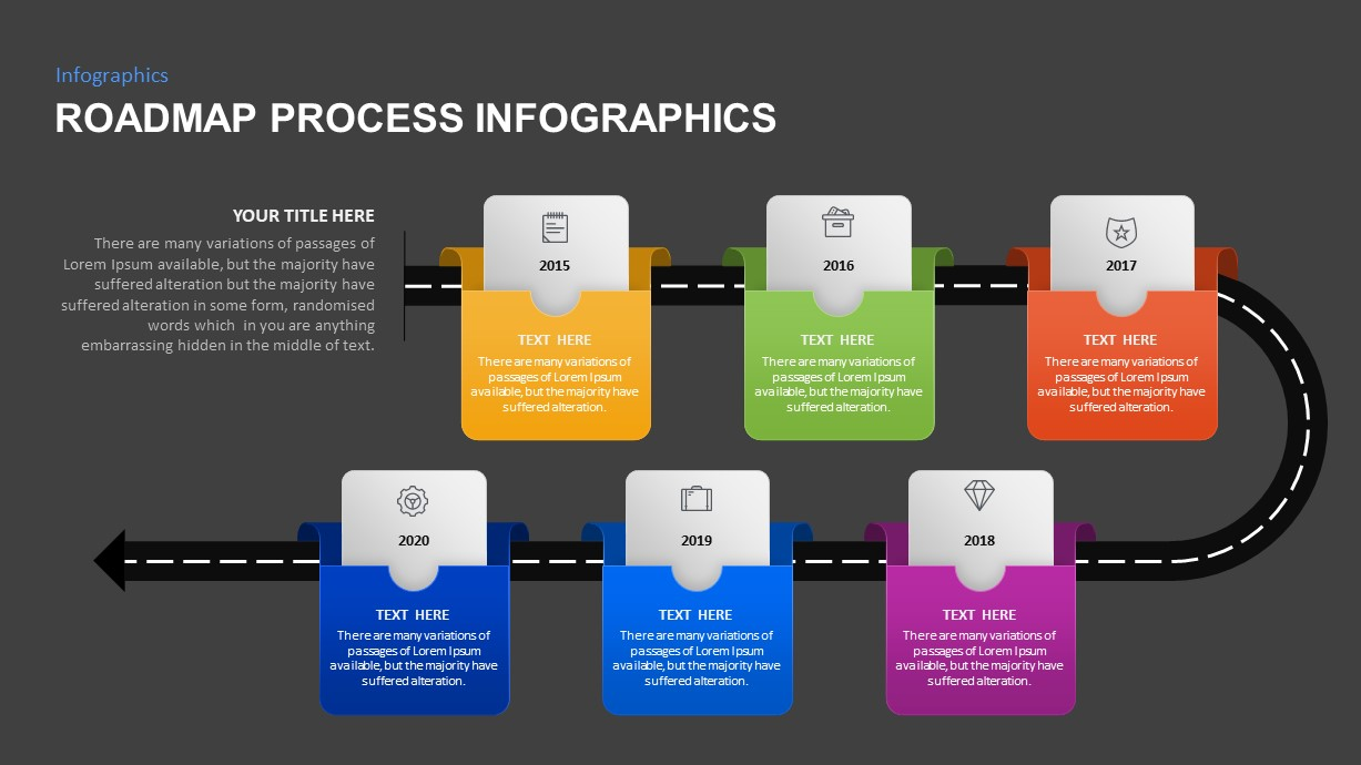 6 Step Roadmap process infographic PowerPoint template