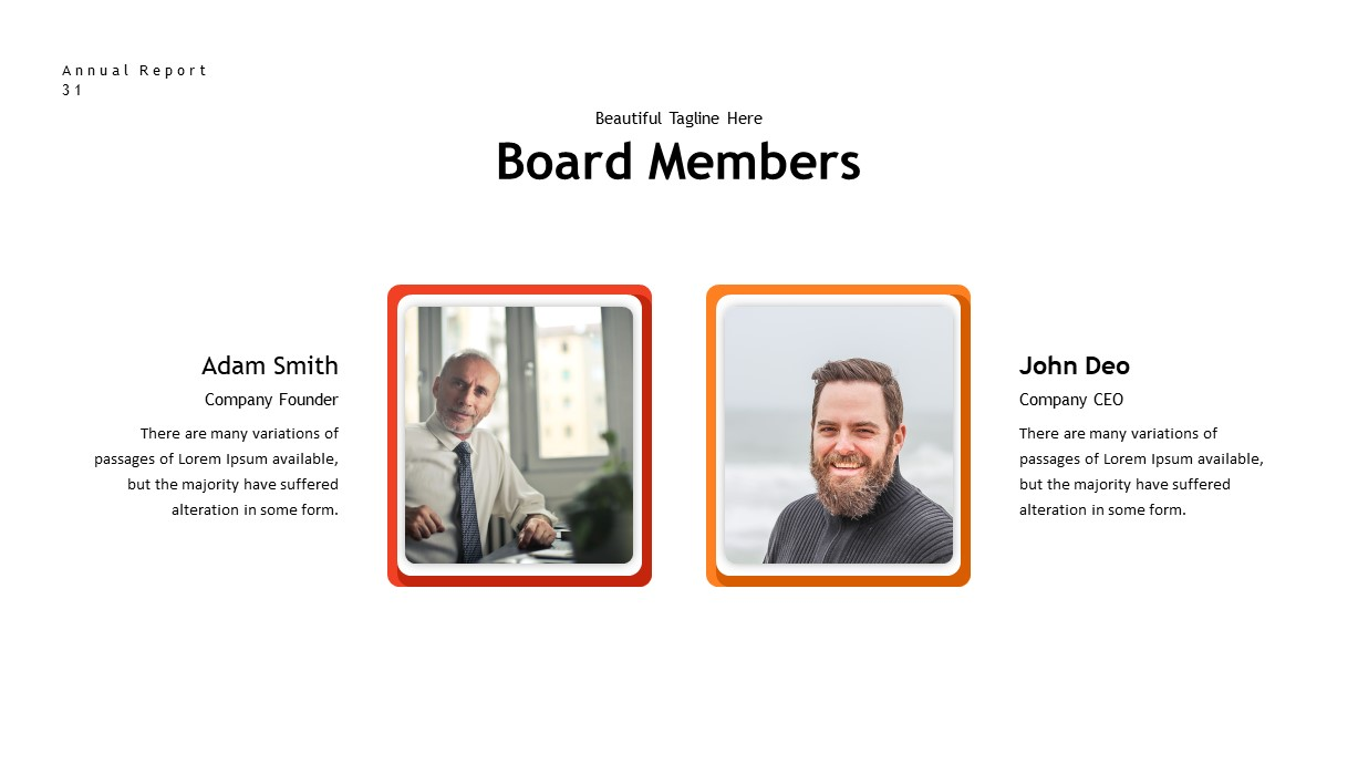 annual report board members PowerPoint template