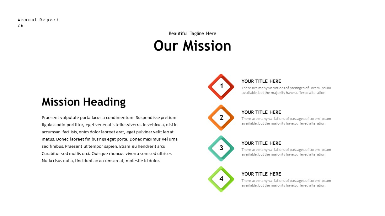 annual report mission PowerPoint template