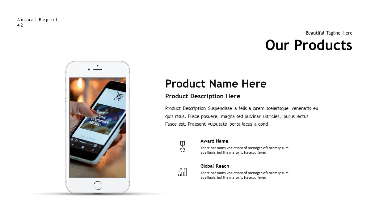 annual report products PowerPoint template