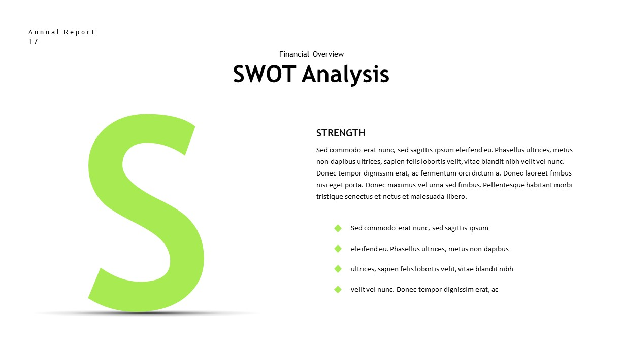 annual report swot PowerPoint template