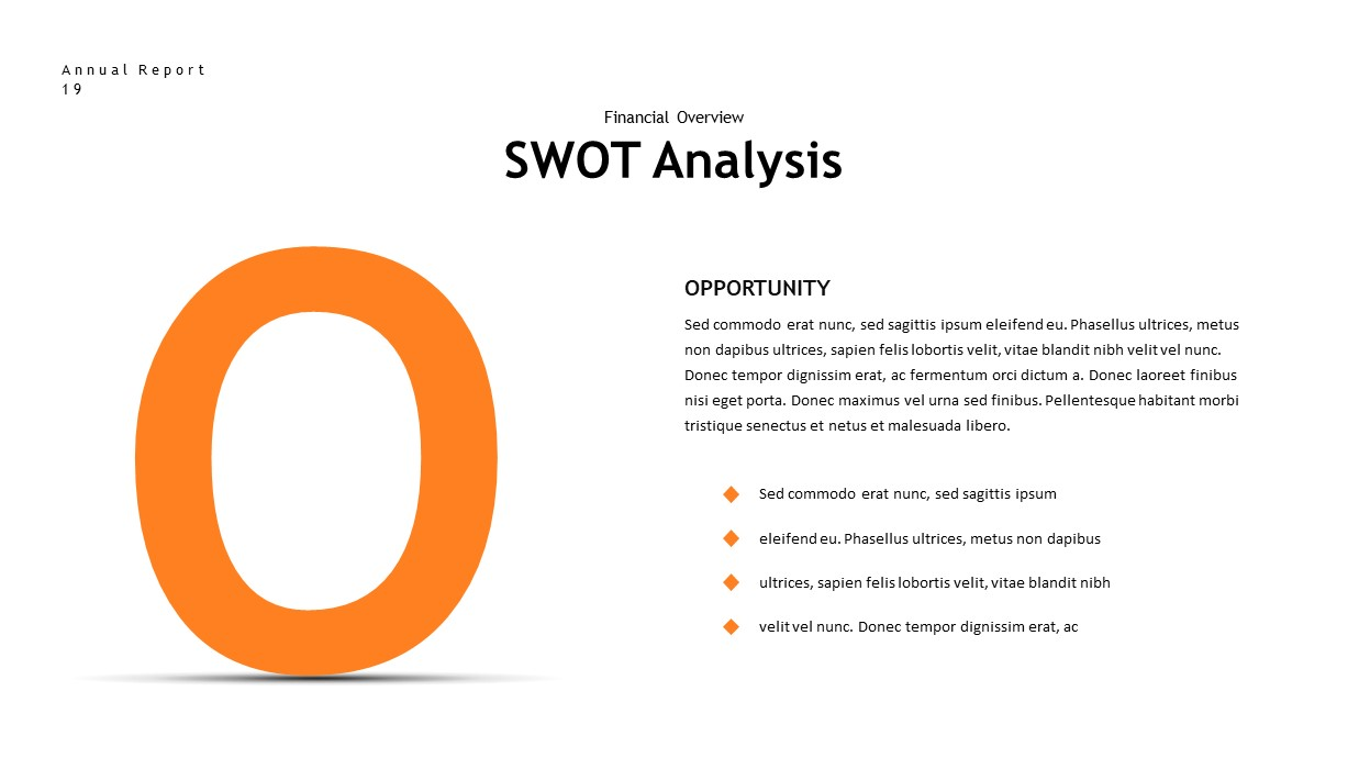 annual report swot analysis PowerPoint template