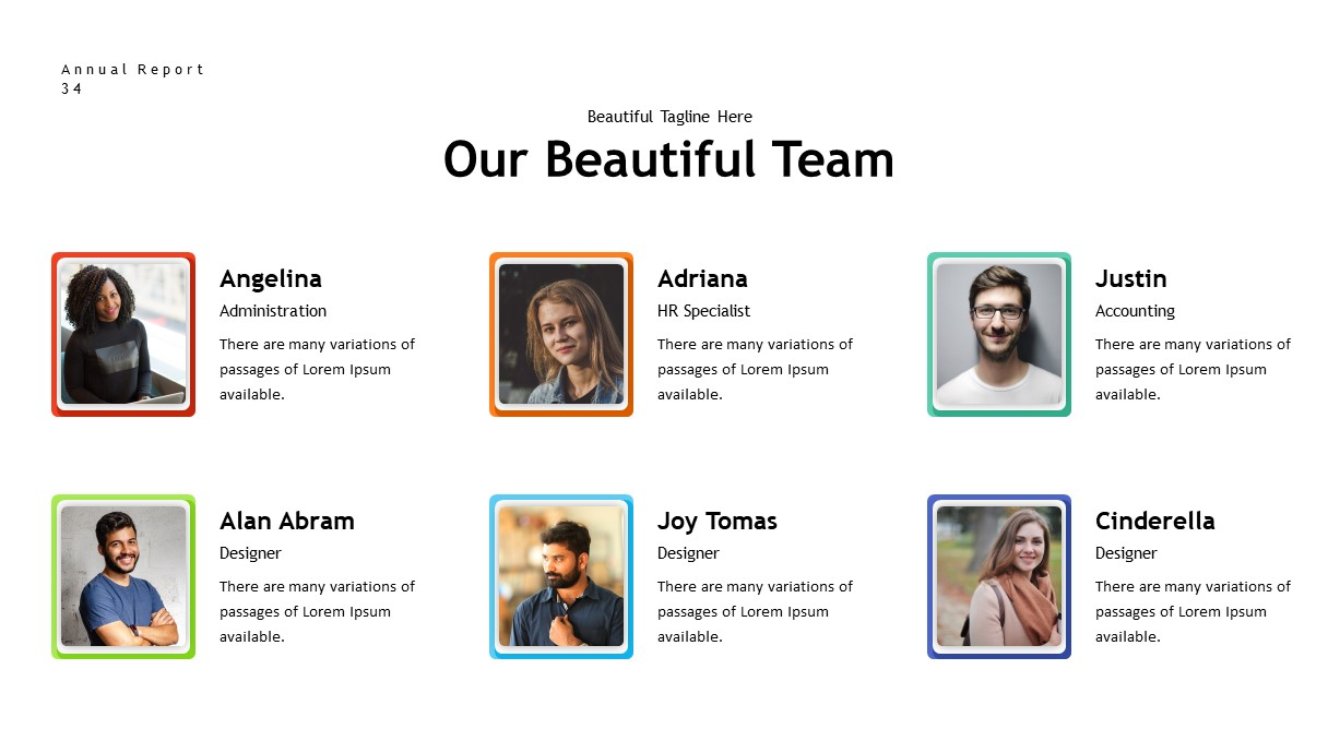 annual report team PowerPoint template