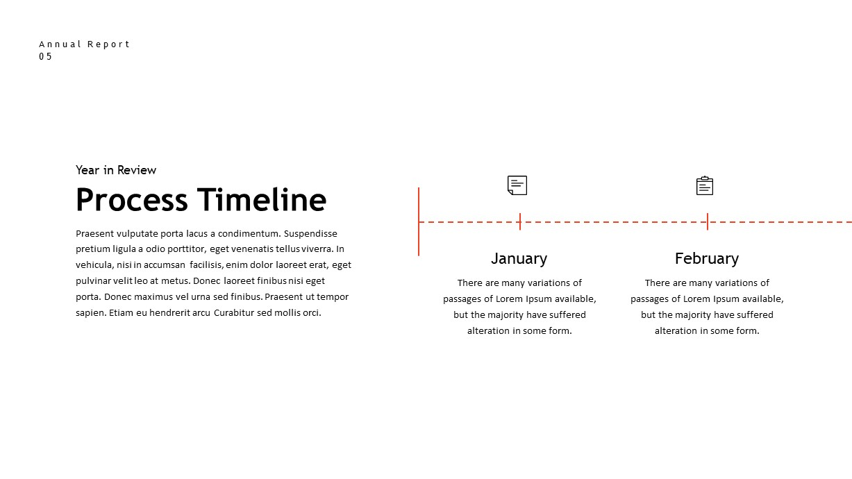 annual report timeline PowerPoint template