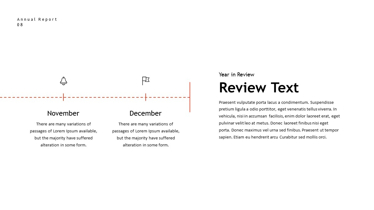 annual report timeline reviw text PowerPoint template