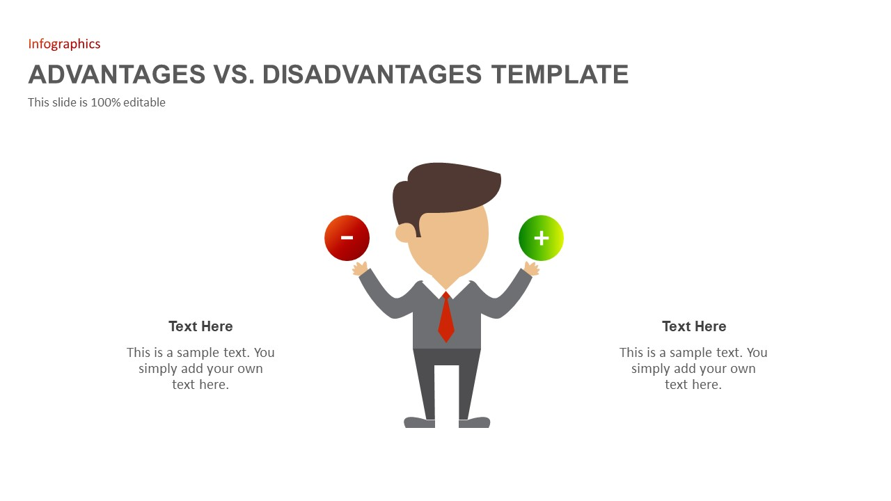 Advantages Disadvantages comparison PowerPoint template
