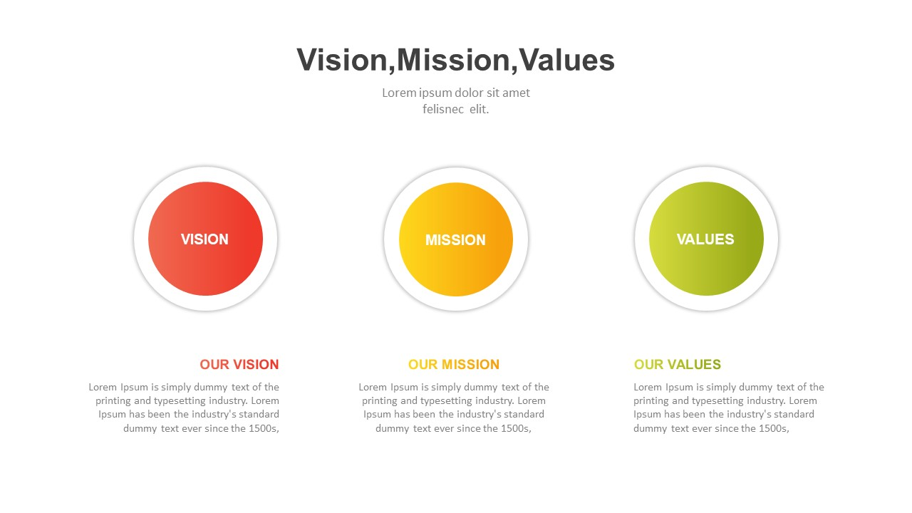 Vision mission values PowerPoint template