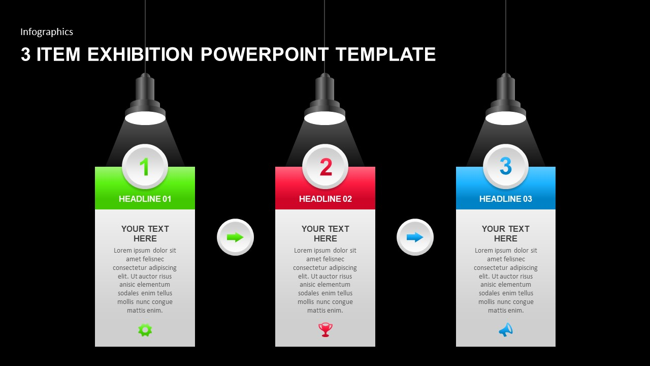 3 Item Exhibition PowerPoint Template