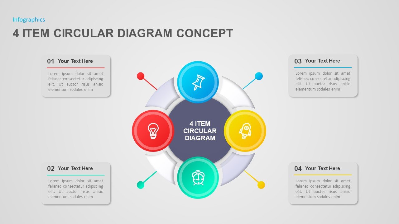 4 Item Circular Diagram Concept PowerPoint Template