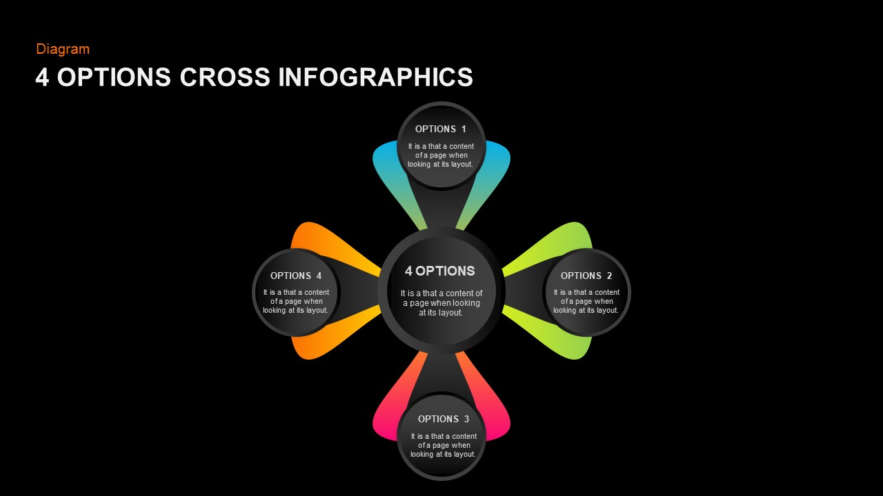 PPT 4 Panels Style Diagram infographic