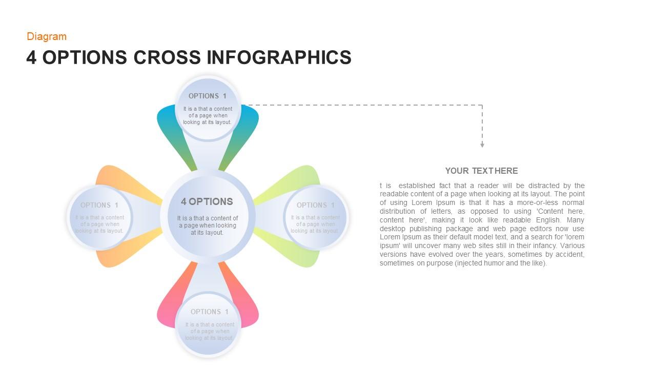 4 Options Cross Infographic PowerPoint Diagram