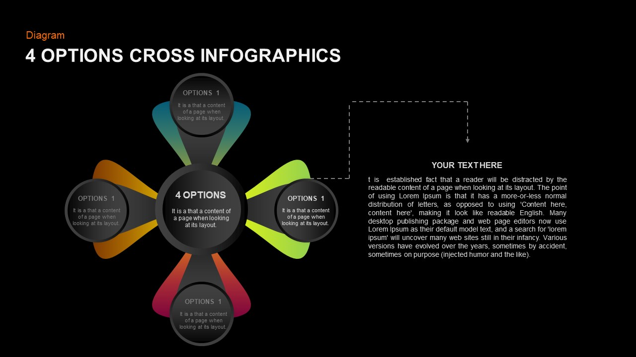 4 option cross infographic PowerPoint template