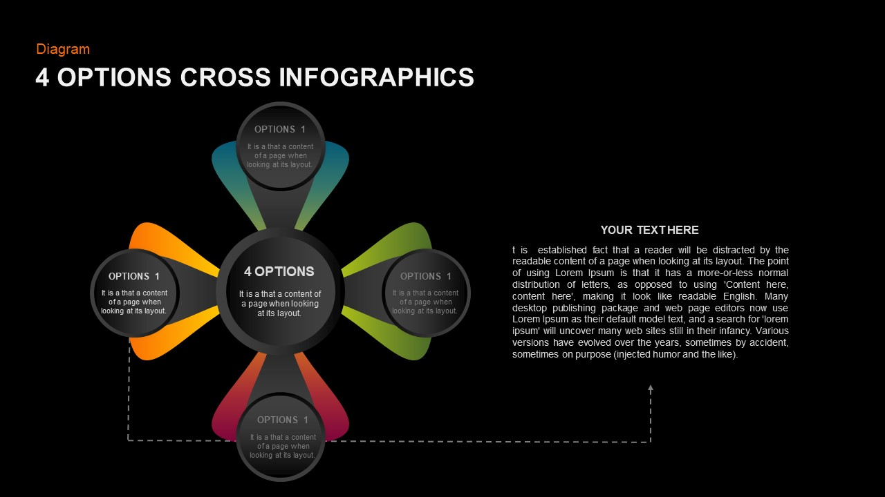 4 steps Cross PowerPoint diagram
