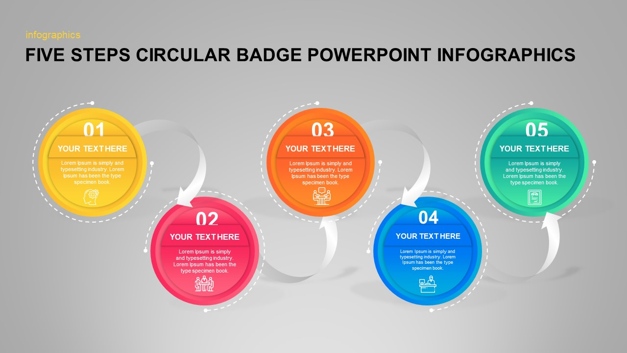 Five Steps Circular Badge PowerPoint