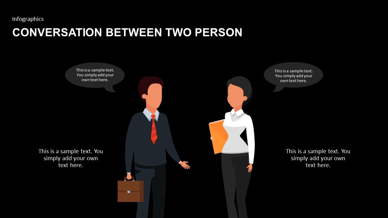 Infographics for conversation between two businessmen PowerPoint design