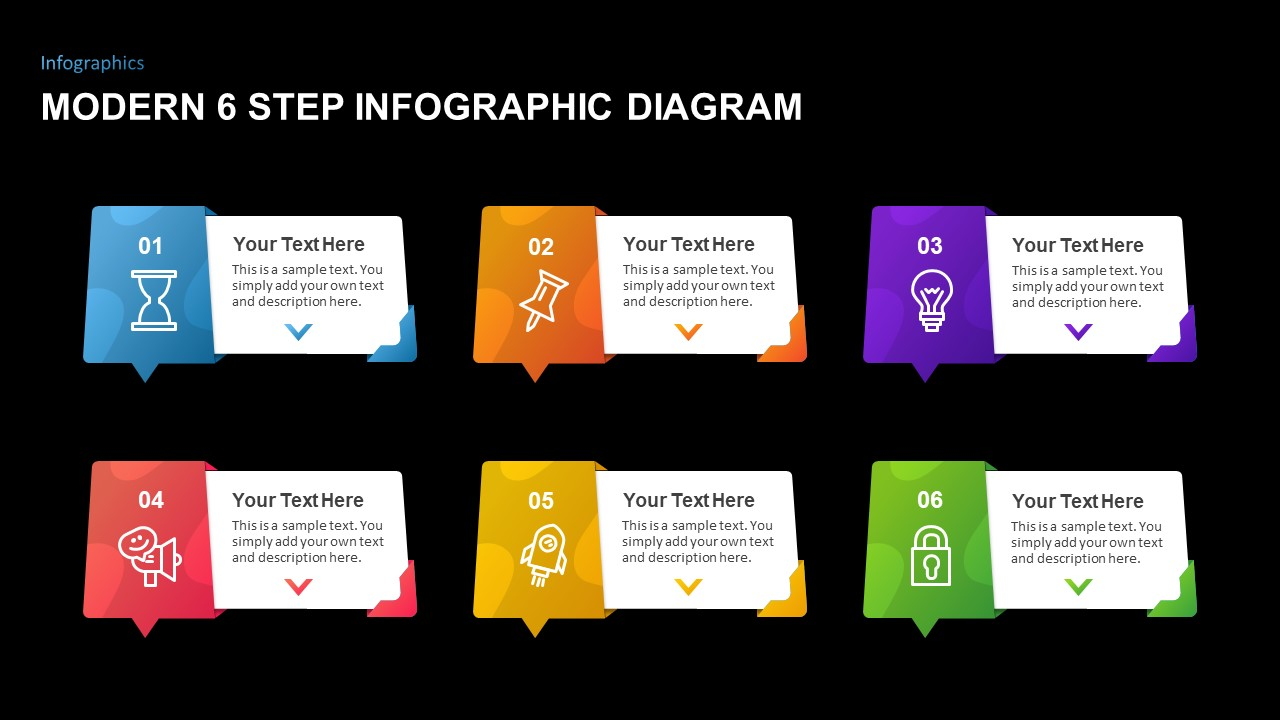 Modern 6 step infographic template